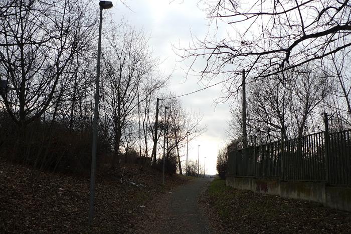 Odbočka z Davídkovy ulice k Okrouhlíku